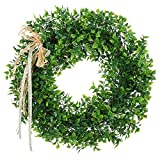 Haperlare 15.5 inch Artificial Green Leaf Wreath Simulation Garland Door Wreath Green Wreath for Home Door Hanging Wall Window Wedding Christmas Party Decoration Style A