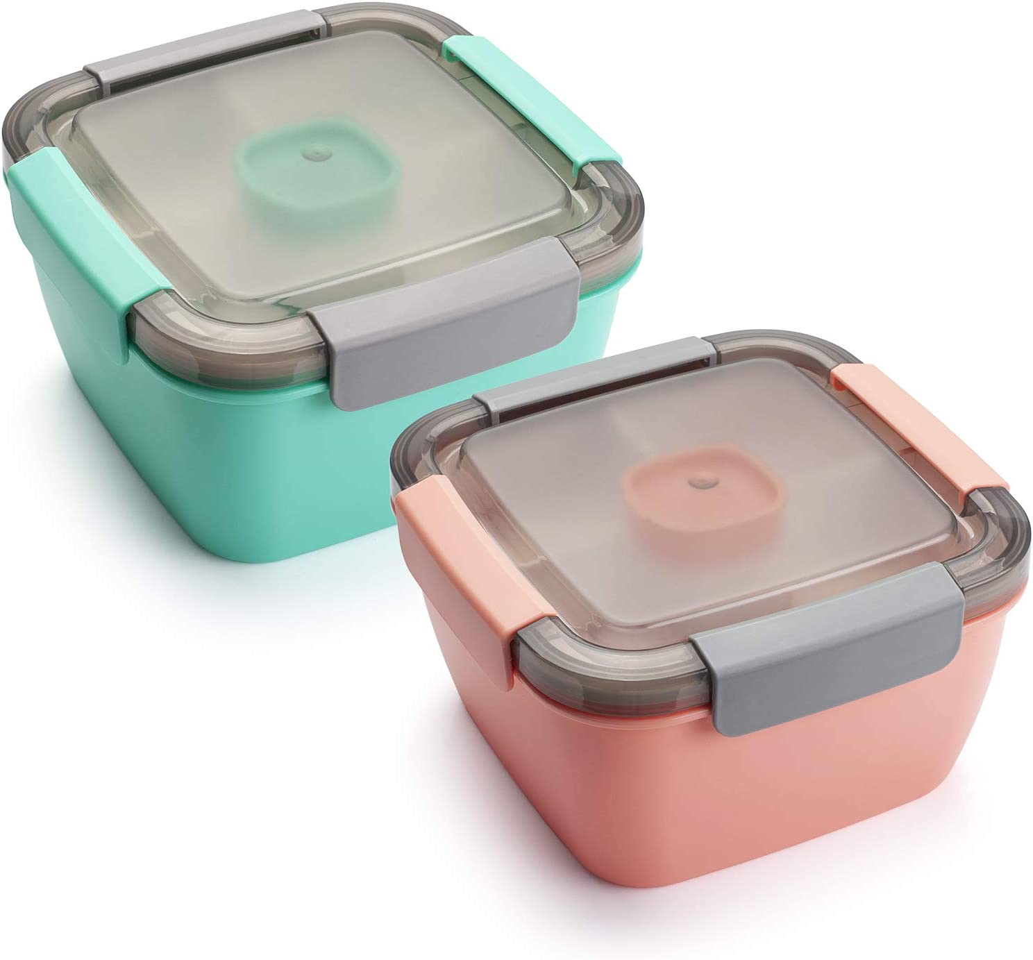 Freshmage Salad Lunch Container To Go, 52-oz Salad Bowls with 3 Compartments, Salad Dressings Container for Salad Toppings, Snacks, Men, Women (Pink+Green)