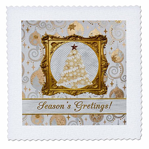 3dRose Beverly Turner Christmas Design - Beautiful Lace and Snowflake Tree Framed in Gold, Ornament, Seasons - 8x8 inch quilt square (qs_267944_3)