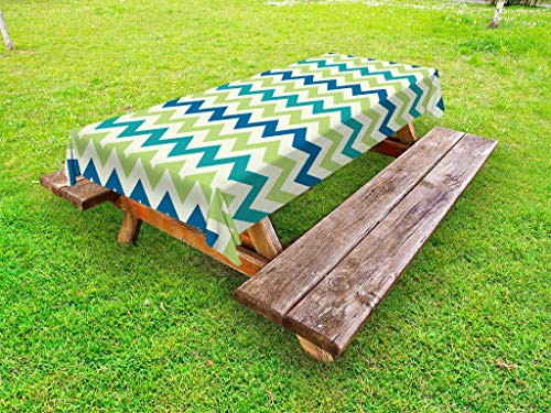 Lunarable Chevron Outdoor Tablecloth, Vintage Style Popular Zigzag Chevron Pattern Classics Stripe Artful, Decorative Washable Picnic Table Cloth, 58 X 84 Inches, Apple Green Teal Navy Blue by Lunarable
