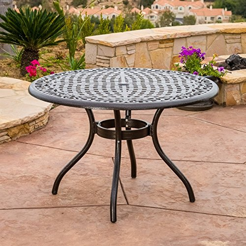Outdoor Hallandale Round Cast Aluminum Bronze Dining Table (ONLY) by Christopher Knight Home For Sale