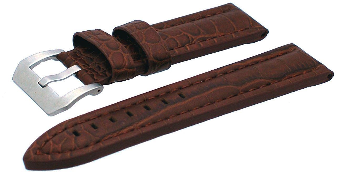 Rev ital12 22 mm 24 mm厚ブラックブラウンGatorパターンpre-vバックルレザー時計交換バンド 24 mm ブラウン 24 mm ブラウン ブラウン 24 mm B0755LJGD8