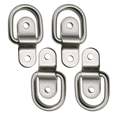 D-Ring Tie Down Anchor 4X 1/4'' Stainless Steel D-Rings Trailer D Ring Tie Downs, 700lbs D-Ring Bracket, D Ring Mounting Plate Tie Down Points for Ratchet Tie Down Straps Car Truck Bed Cargo: Industrial & Scientific