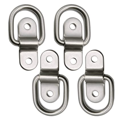 4X Stainless Ring Tie Downs Cargo Trailer Anchors Points with Mounting
