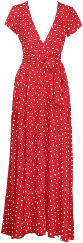 Women Summer Boho Long Maxi Dress Chiffon V-Neck Evening Party Cocktail Dress Casual Beach Dress Sundress Women Long Dresses Sexy Red, S