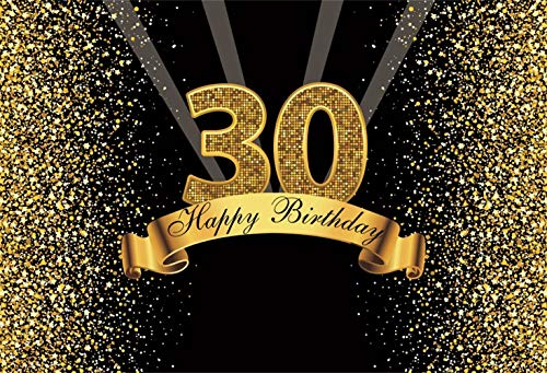 LFEEY 7x5ft Happy Birthday Backdrop Polyester Glitter Gold and Black Photo Studio Booth Background Adult Happy 30th Birthday Party Decorations Banner Backdrops for Photography No Wrinkle -
