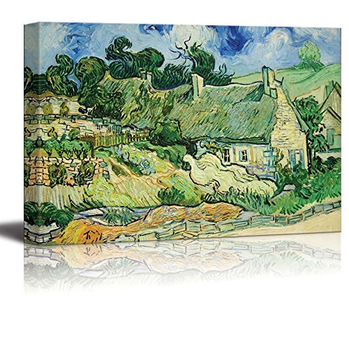 Thatched Cottages at Cordeville by Vincent van Gogh Print Famous Painting Reproduction