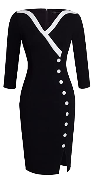 Vestido vintage informal y elegante, cuello de pico, ceñido, botones grandes