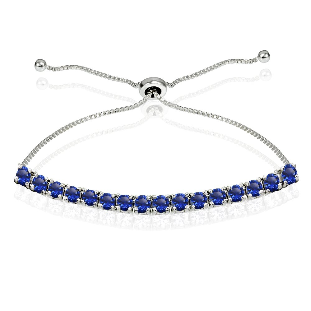 Sterling Silver 3mm Created Blue Sapphire Round-cut Chain Adjustable Pull-String Bolo Slider Tennis Bracelet for Women Teens Girls