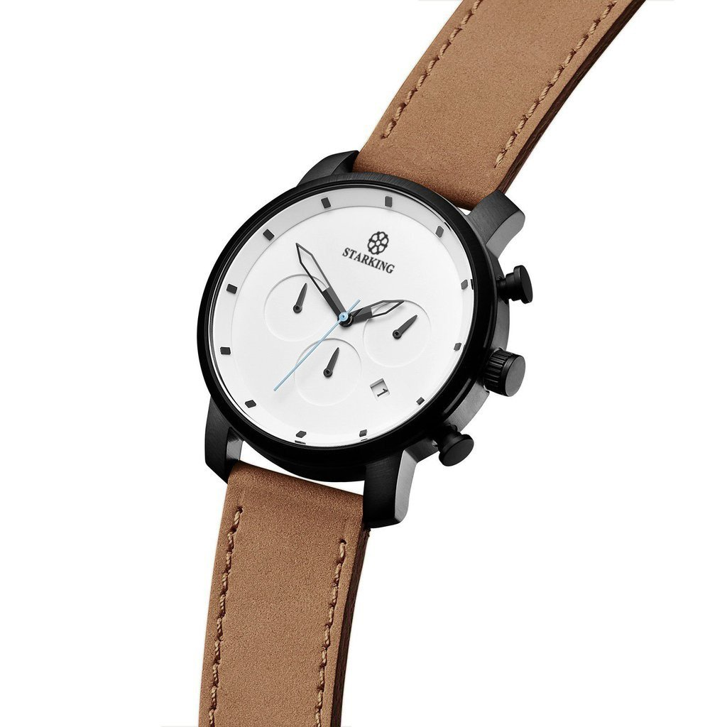 STARKING Top Brand Luxury Mens Chronograph Wrist Watch TM0913 Leather Watch Men Casual Style Fashion Minimal Waterproof Watches Scratch Proof Male by STARKING (Image #2)