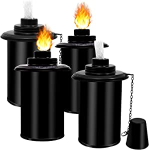 Torch Canisters, Bamboo Torch Refill Canister - 4 PCS 12 oz Metal Citronella Fuel Torches Replacement Canisters with Wicks and Covers, Patio Torch for Luau Party, DIY Garden Torch Outdoor Decor