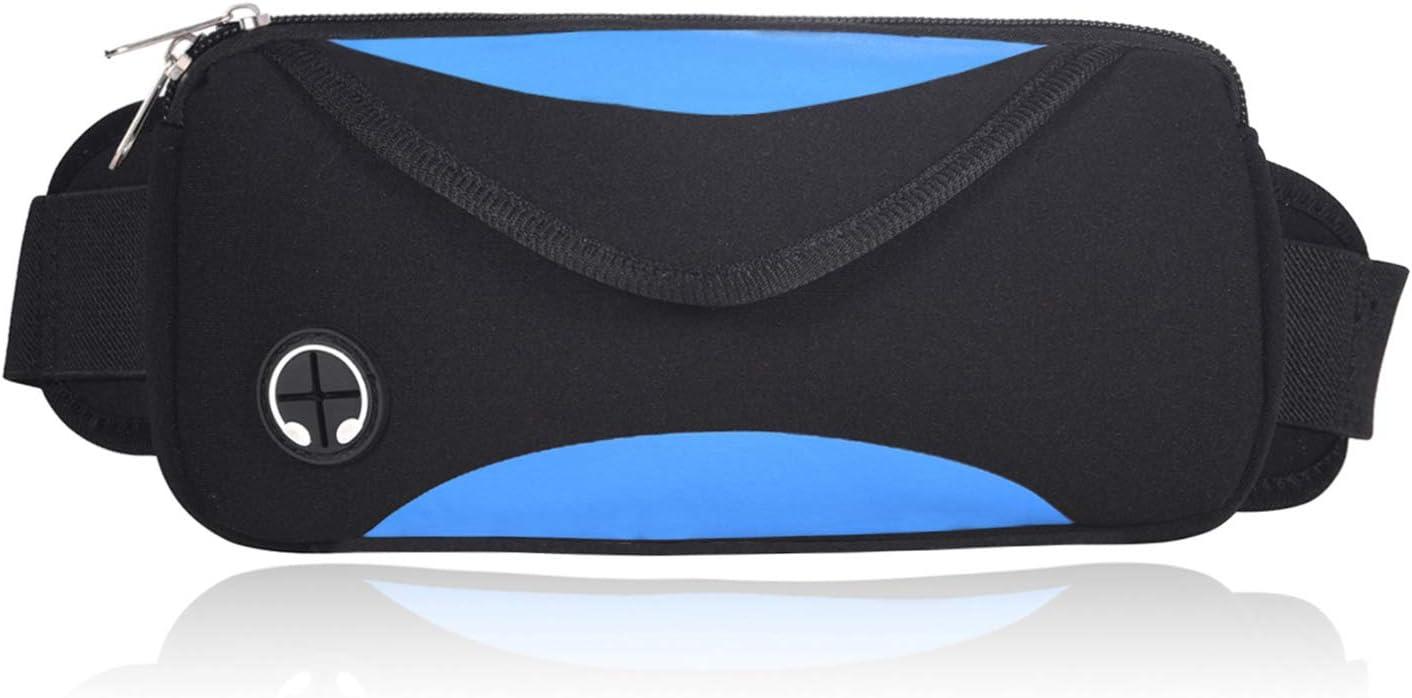 MineSha Running Belt Waist Pack Workout Belt for Men Women Jogging Hiking Fitness Adjustable Run Pouch for iPhone XR XS 8 X 7 Samsung Note Galaxy – Dual Pockets Design