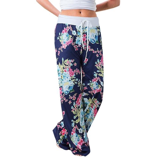 Mujer Pantalones Anchos de Pierna Pantalón Floral Impreso Suave Yoga Fitness Deportes Tallas Grandes S-3XL Azul L