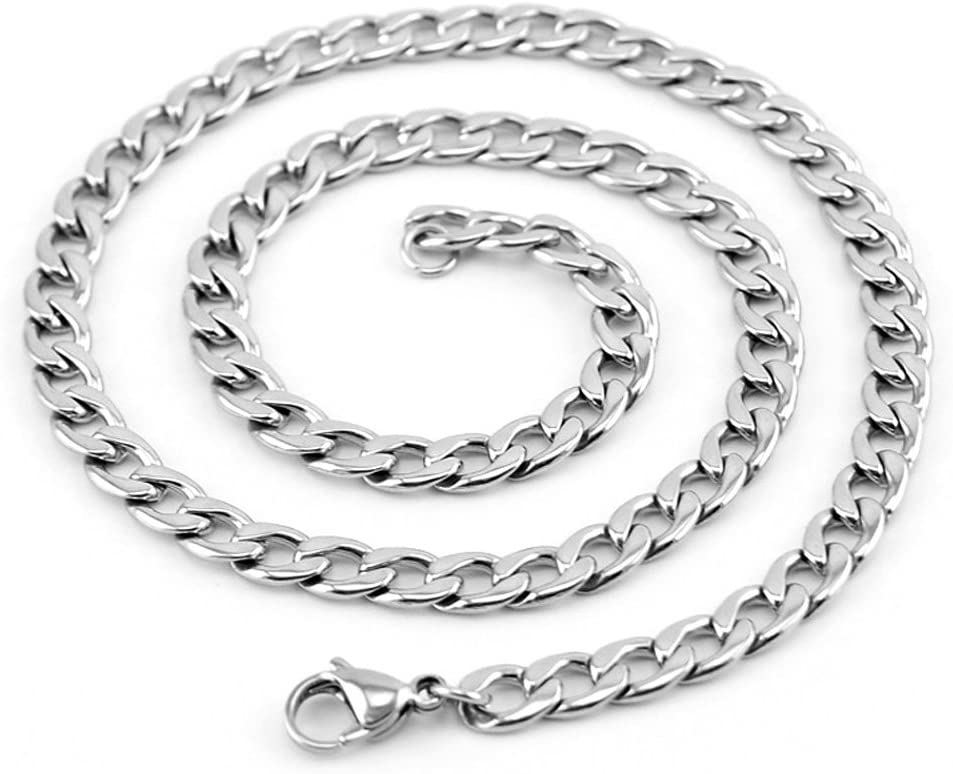 Unisex Men Women 6MM Wide Cuban Curb Chain Necklace 16-38inches Stainless Steel 26 inches