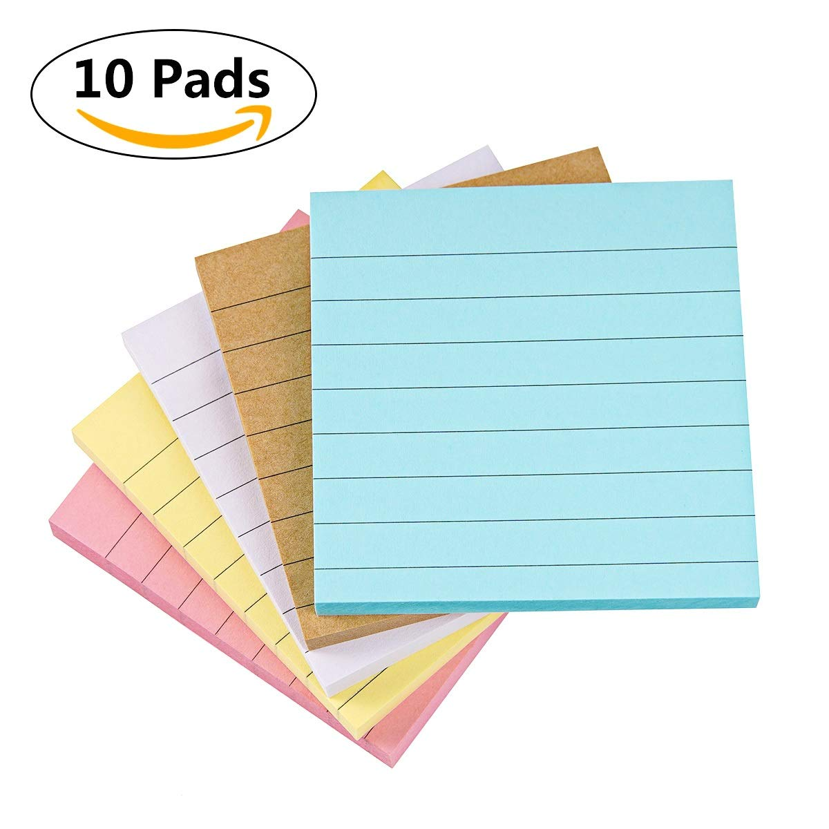 Sticky Notes Lined 3x3, 10 Pads/Pack, 70 Sheets/Pad, 5 Colors, Individually Package Colorful Self-Stick Notes for Home, Office