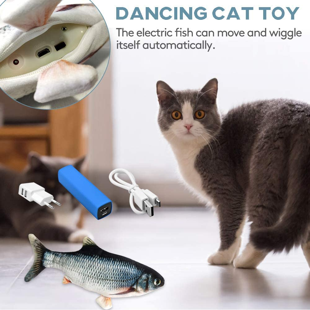 Carp NINEMAX Electric Moving Fish Cat Toy,Low Noise Realistic Plush Realistic Moving Cat Kicker Fish Cat Toy Catnip Toys,Motion Kitten Puppy Toy,Interactive Cat Toys for Cat Exercise