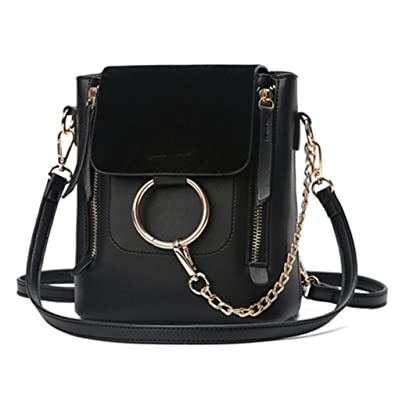 Metal Ring Shoulder Bag For Women Suede Chain Crossbody Bag Vintage Leather Bags Women Handbags Famous