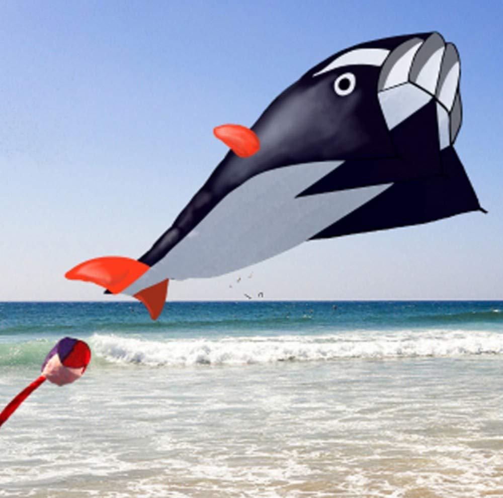 1.2m per 2.1m, Nero YPKHHH cyclamen9 Enorme Aquilone Delfino per Bambini 3D Kite Enorme Aquilone Senza Bordi Parafoil Giant Delfino brezza Aquilone