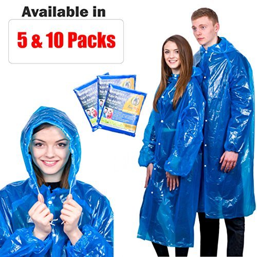 Extra Thick Disposable Emergency Rain Ponchos ~ Premium Quality, Lightweight, Waterproof & Tear Resistant ~ For Hiking, Tours, Sightseeing, Theme Parks, Festivals & More by KeepDry! by KeepDry!