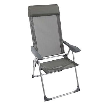 Silla plegable gris Respaldo de 4 posiciones silla de jardín ...