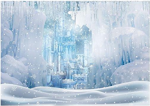 Amazon Com Funnytree Winter Wonderland Ice Castle Photography Backdrop White Snow Frozen Landscape Background Fairytale Princess Girl Baby Shower Kids Birthday Portrait Party Photo Studio Props Banner 7x5ft Camera Photo
