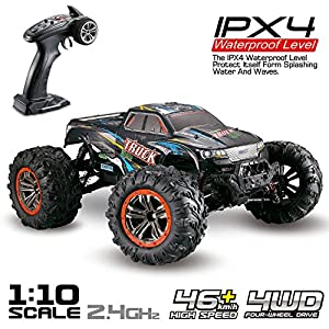 Hosim Large Size 1:10 Scale High Speed 46km/h 4WD 2.4Ghz Remote Control Truck 9125, Radio Controlled Off-road RC Car Electronic Monster Truck R/C RTR Hobby Grade Cross-country Car (Blue)