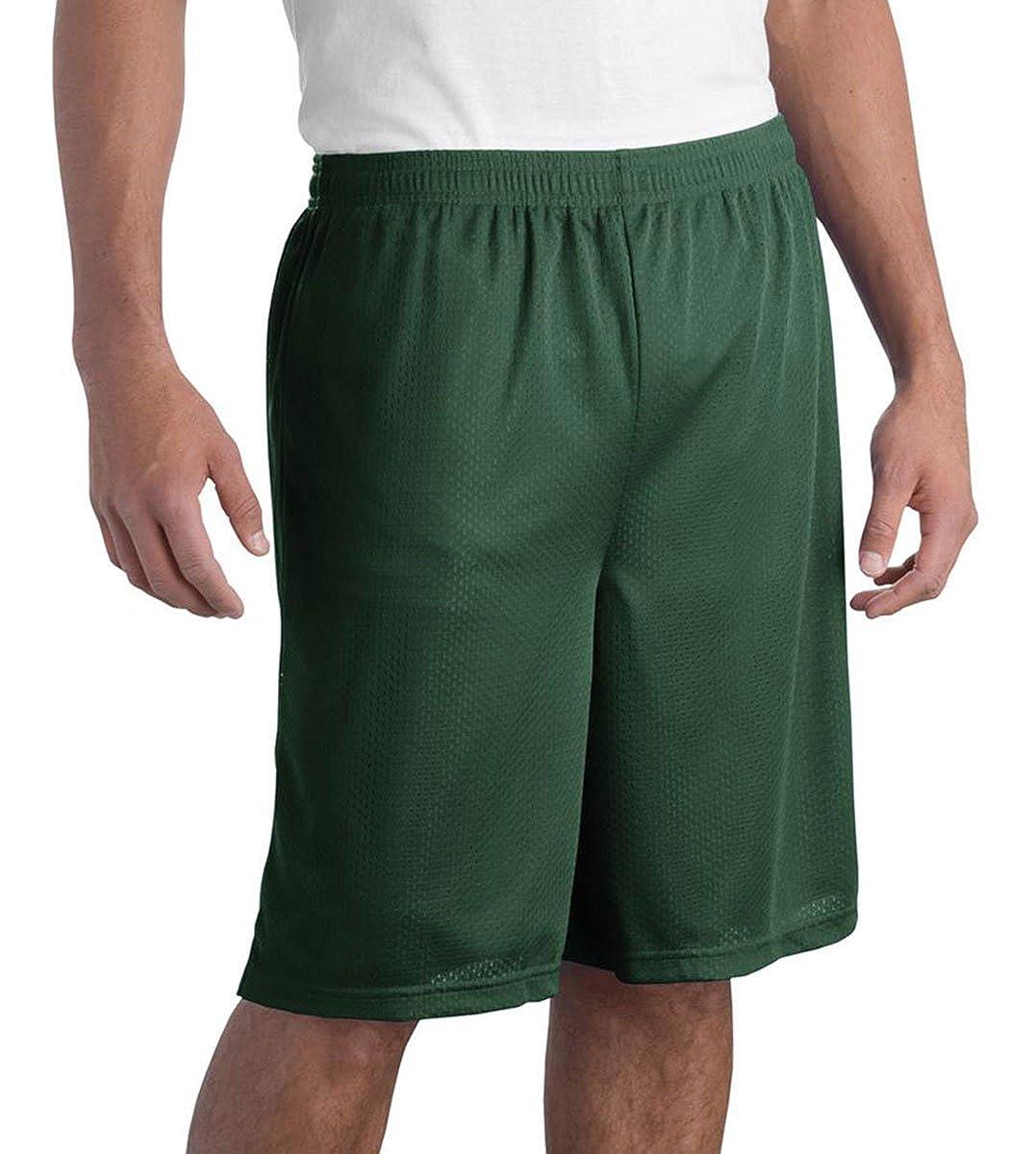Sport-Tek Mens Elastic Waistband Mesh Short/_Forest Green