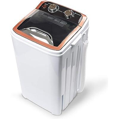 Dawoo Mini Lavadora Portátil De 4.4 Kg Lavadora De Tina Única Completamente Automática Con Bomba De Drenaje y Temporizador De Control (32cmx34cmx 66cm)