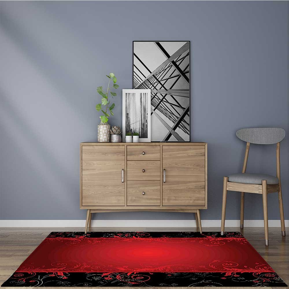 for Home or Travel Swirls Leaves with B Border Line Scarlet and Dark Brown Easier to Dry for Bathroom 22''x36''