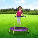 Mini Indoor Trampoline with Handle for Kids and Toddlers - Foldable - Exclusive Lime Green & Purple by USA Toyz