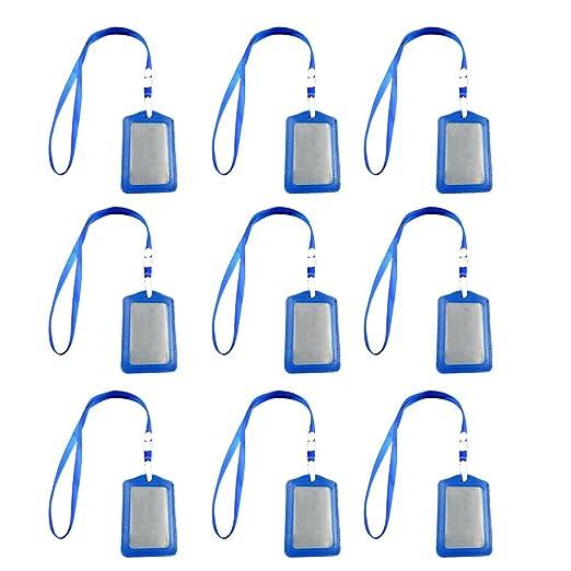 10 Pezzi Portabadge,Bobine di Badge PU Pelle Stile Verticale con Cordino per ID//Scuola//Lavoro Carte,Blu Beetest/®