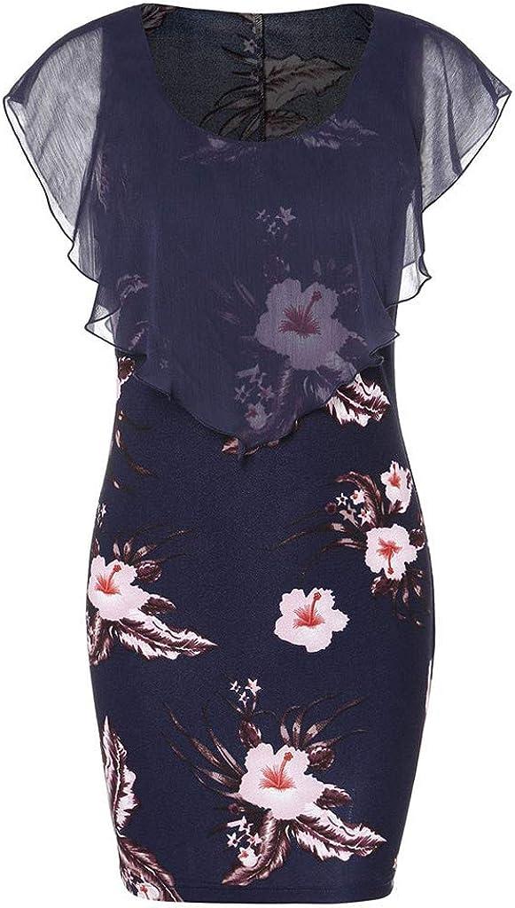 Auifor Moda para Mujer Casual Rose impresión Gasa O Cuello con Volantes Mini Vestido