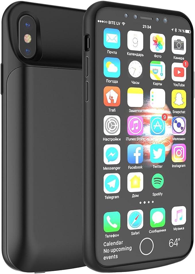 Funda con cargador para iPhone X, de 6000 mAh, aumenta la duración ...