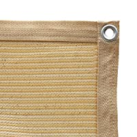 Shatex 90% Shade Fabric Sun Shade Cloth with Grommets for Pergola Cover Canopy 10' x 12', Wheat