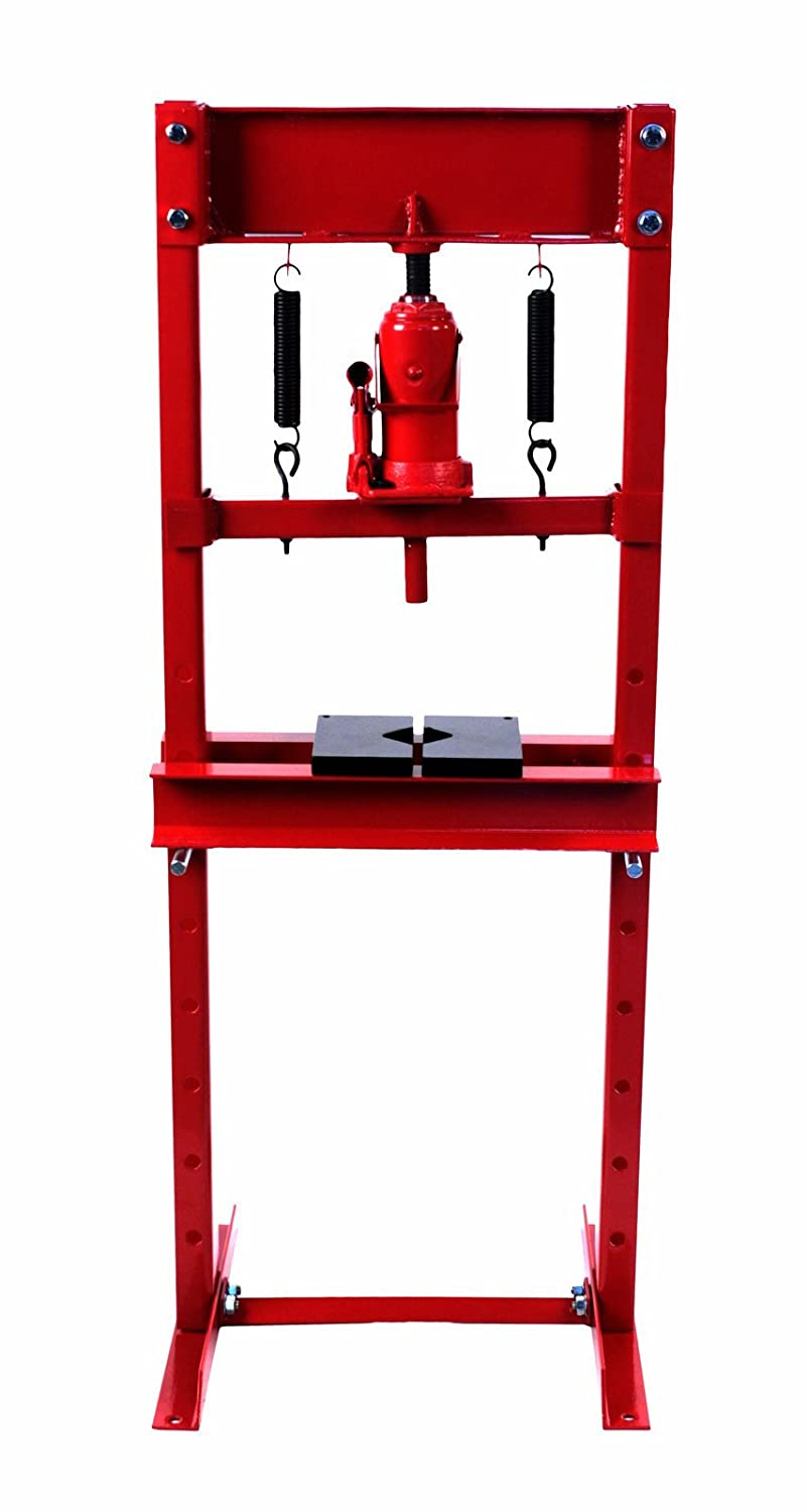 Dragway Tools 12 Ton Hydraulic Shop Floor Press with Press Plates and H Frame