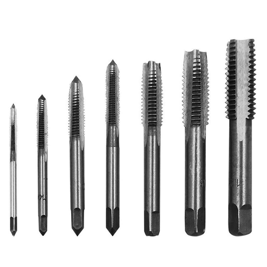 Baulody 7PCS Metric Taper HSS Mini Hand Screw Thread Tap Cutting Drill Bits Set M3-M12 (Silver) by Baulody (Image #1)