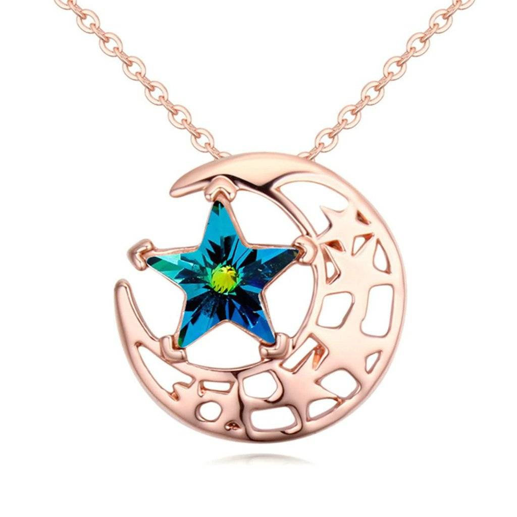 AMDXD Jewelry Alloy Pendant Necklaces for Women Moon and Star 3.2X1.7CM