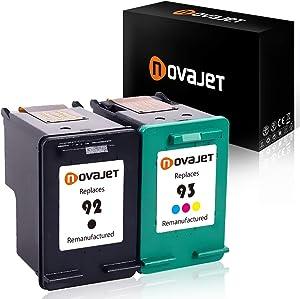 Novajet Remanufactured Ink Cartridge Replacement for HP 92 93 (1 Black + 1 Color) C9362WN C9361WN for HP Deskjet 5420 5420v 5440 5442 5443 Officejet 6300 6301 6305 6310