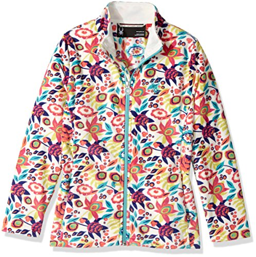 Spyder Girls Fleece - Spyder Girl's Celeste Fleece Jacket, White Large Ditz Print, Medium