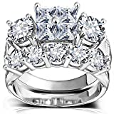 Princess Wedding Rings for Women - Brilliant Cubic Zirconia Big Engagement Bridal Sets Size 5-11