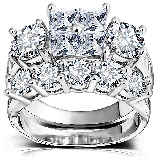 Princess Wedding Rings for Women - Brilliant Cubic Zirconia Big Engagement Bridal Sets Size 5-11 (3 Piece Set Ring)