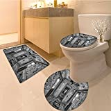 3 Piece Toilet Cover set Interior of an Antique Aged Railway Wagon Burnt Destruction Picture Fabric Set with Extra Soft Memory Foam Combo - Rug, Contour Mat and Lid Cover