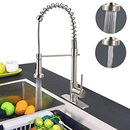 Dual Functions Commercial Kitchen Faucet, Hippih Single Handle Lead-free  Kitchen Sink Faucet with Dual Functions, Pull down & Pull Out Sprayerhead  ...