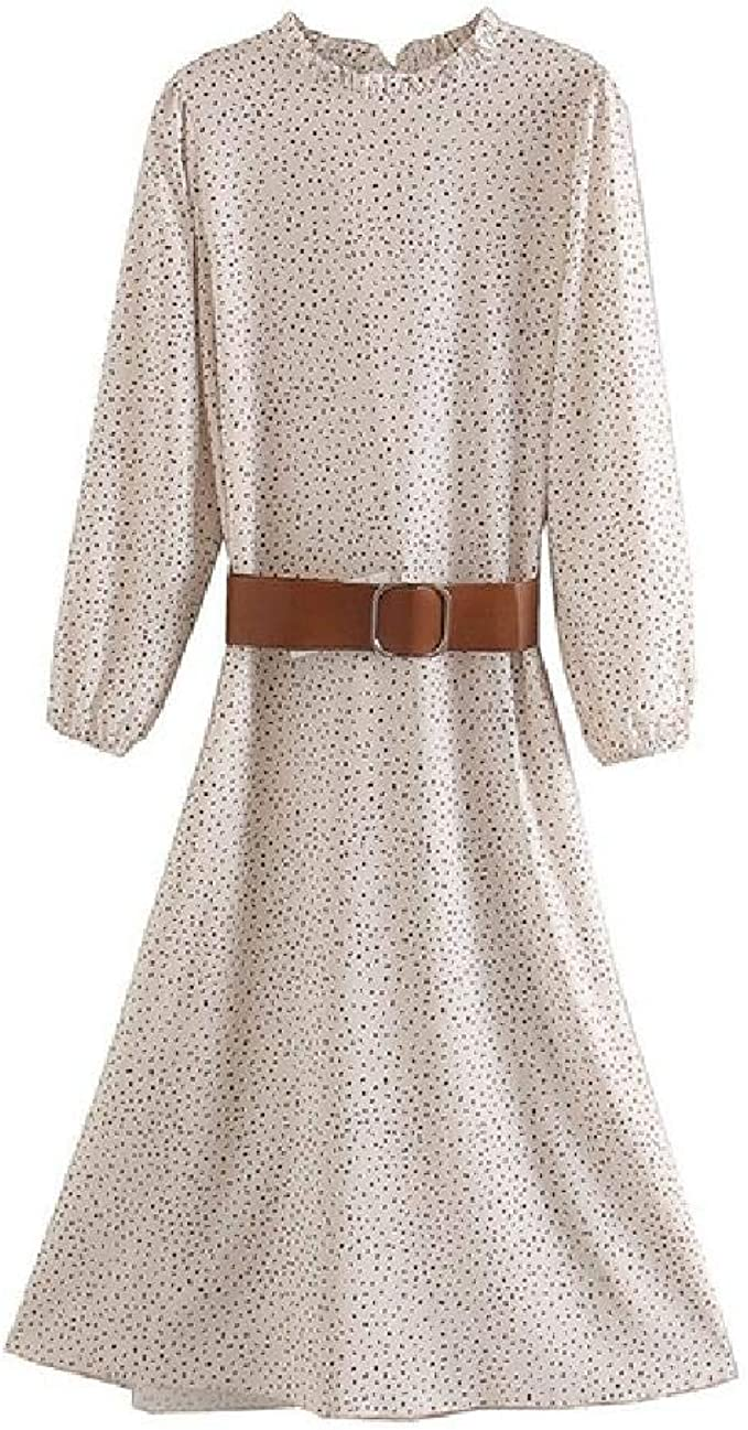 nobrand Mode Frauen Punkte drucken Elegante Midi-Kleid mit Gürtel