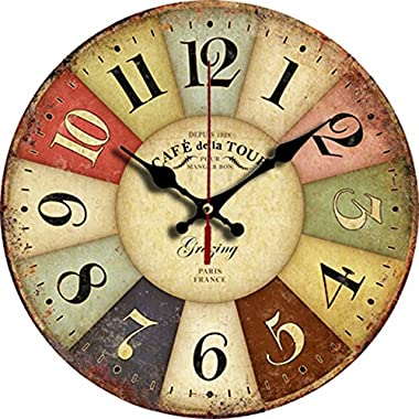 Grazing 12  Vintage Rustic Country Tuscan Style Arabic Numerals Wooden Decorative Round Wall Clock (Colorful)