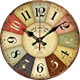 "Grazing 12"" Vintage Rustic Country Tuscan Style Arabic Numerals Wooden Decorative Round Wall Clock (Colorful)"