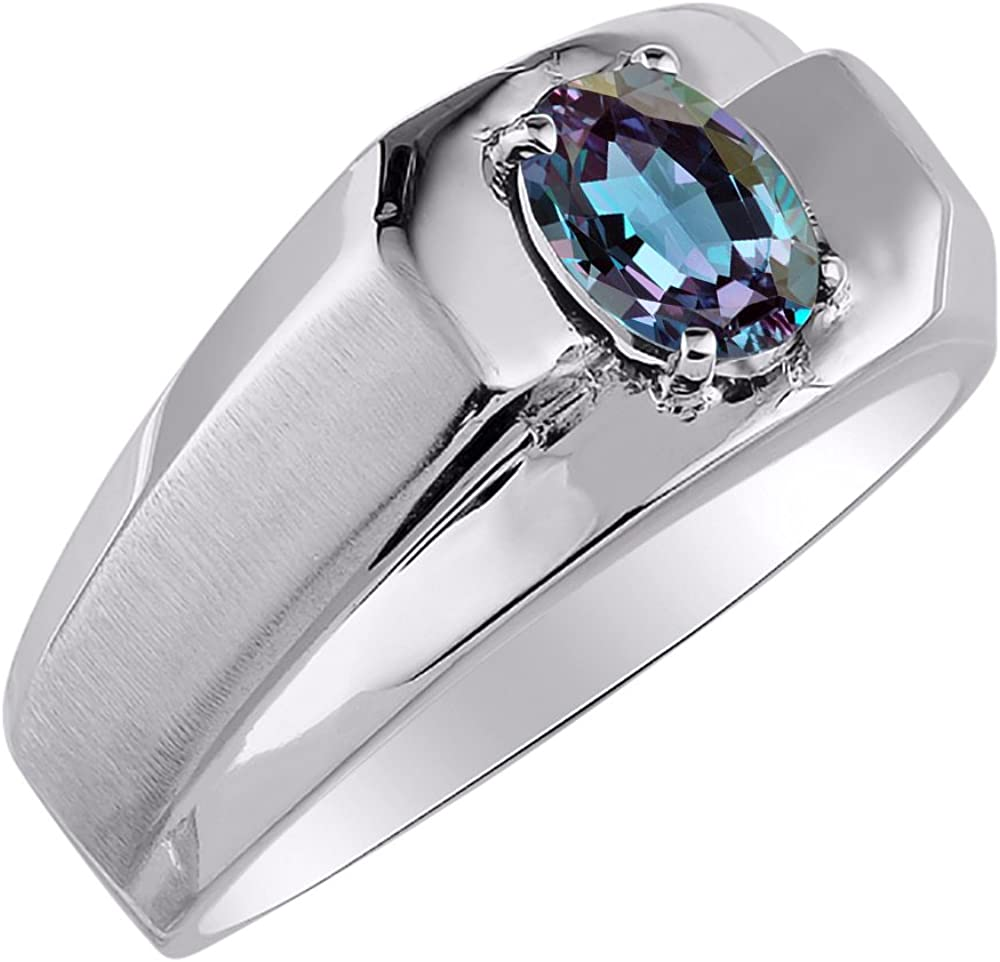Birthstone Ring Sterling Silver or Yellow Gold Plated Silver Alexandrite