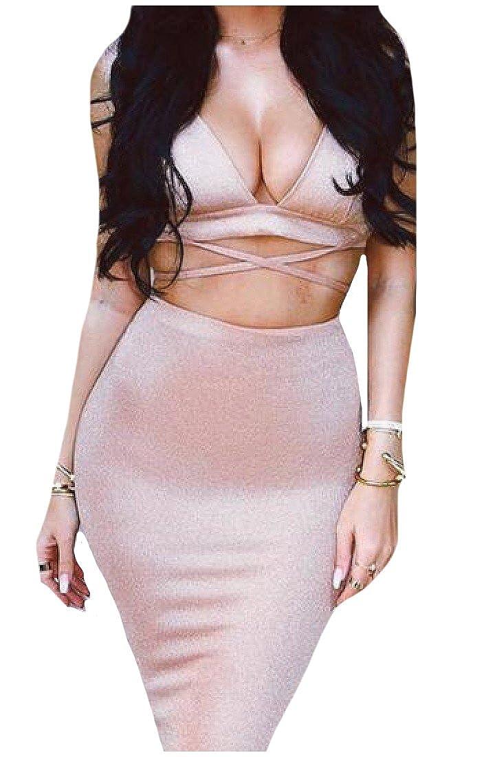 XiaoShop Women Screw Halter Mini 2 Piece Bodycon Clubwear Mid Dress