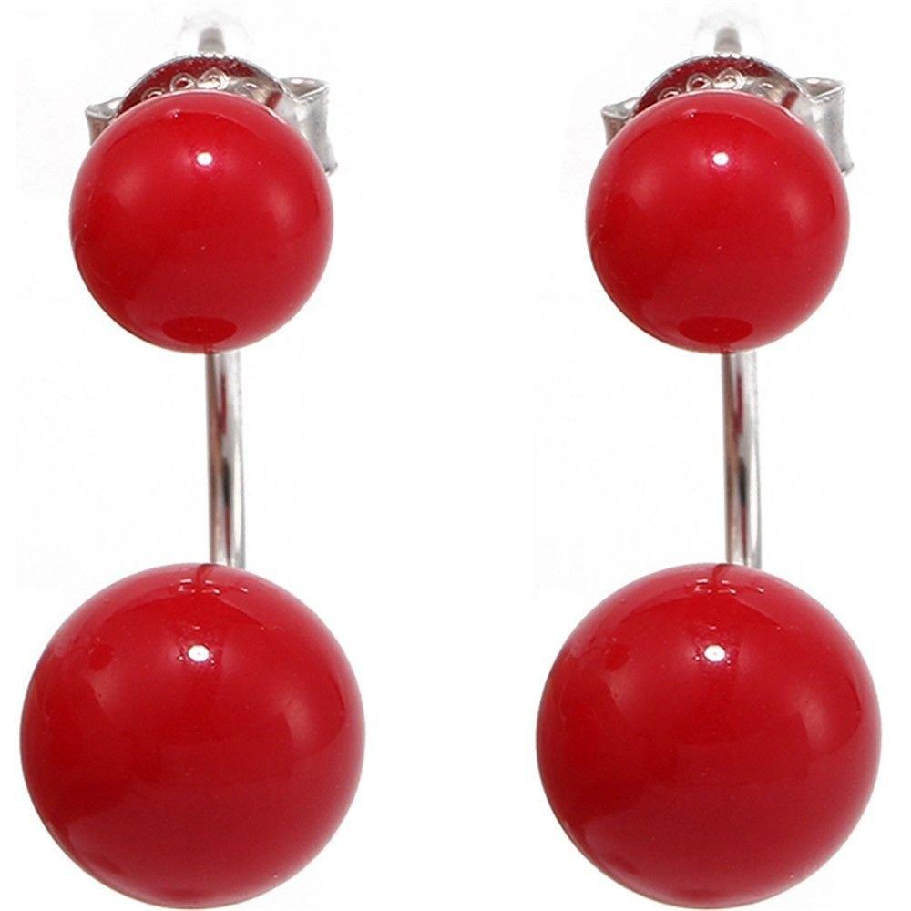 Ling Studs Earrings Hypoallergenic Cartilage Ear Piercing Simple Fashion Earrings Ear Jewelry Red Pearl Short Ear Hook Double Sided