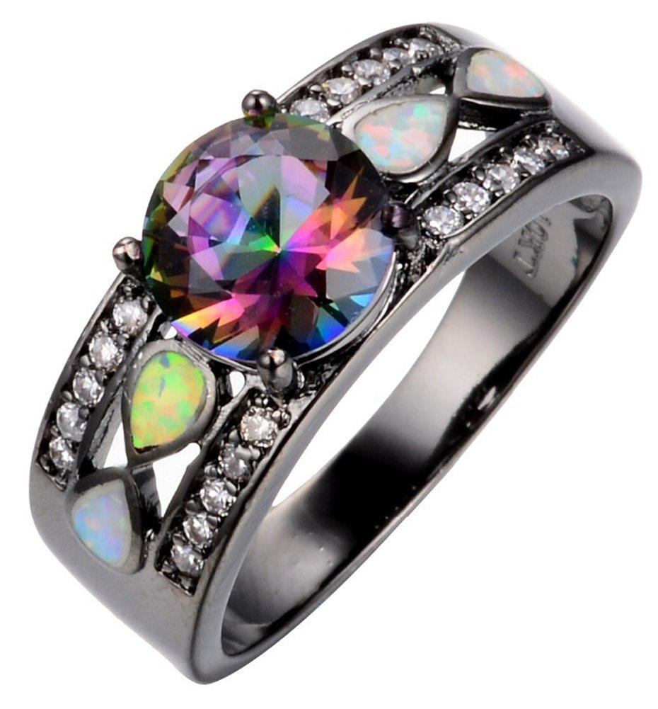 SaySure - Wedding Rainbow Opal Rings Colorful CZ 10KT Black